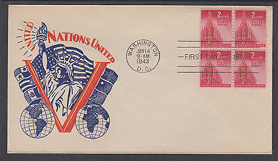 US Mel 907-9 FDC. 1943 2c United Nations, P. Goldstein cachet