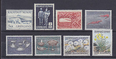 Greenland Sc 73/196 MNH. 1969-1989 issues, 8 different singles VF