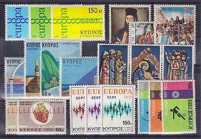 Cyprus Sc 365-385 MNH. 1971-72 issues, 7 cplt sets VF