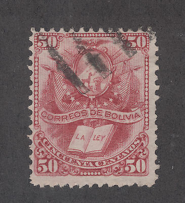 Bolivia Sc 23 used 1878 50c Coat of Arms, top value to set F-VF