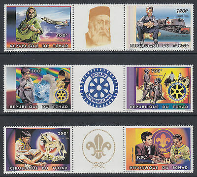 Chad Sc 695-697 MNH. 1996 Red Cross, Scouts & Rotary International Strips/3