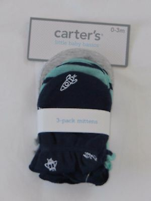 NEW Carter's 3- pack mittens little baby basics size 0-3 months