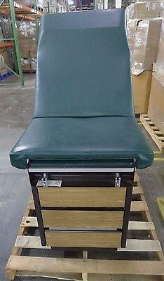 Midmark 100 Green Exam Table w/ Stirrups & Drawers USED