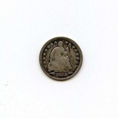 1855 5c Seated Liberty Silver Half Dime With Arrows VG