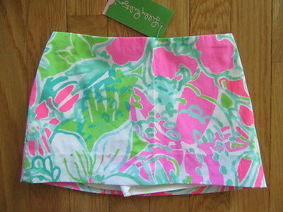 Lilly Pulitzer Girls Mini Jasmine Skort, Flamingo Pink, Dont Give A Cluck,nwt, 4