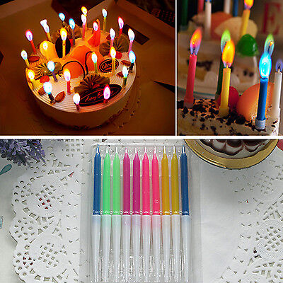 10 Pcs New Birthday Cake Candles Colored Angel Flame Safe Party Decor Hot CHIC