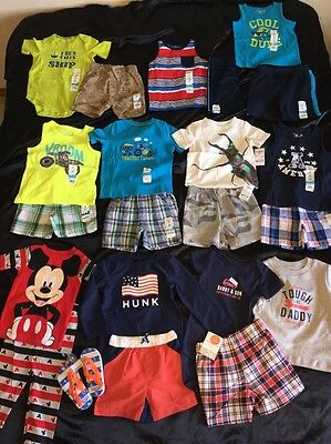 NWT Boys 24 Month Spring Summer Lot Carter's Outfits Swim Trunks Rash Guard Neon