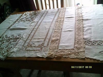 5 Vintage Linen Table Runners With Crochet Decoration