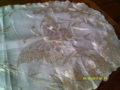 Vintage Butterfly Silk Embroidered Table Runner