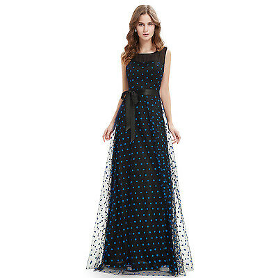 Ever-Pretty Women's Sapphire Blue Spotted Long Evening Party Dress 08753 Size 18
