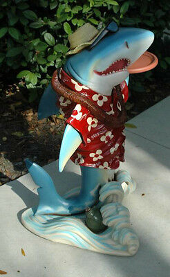 2' Shark Butler Waiter Statue with Two Trays Old Gold Tie Kitchen Pub Bar
