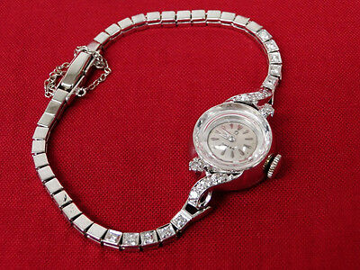 Vintage 1940s Omega 14k White Gold Diamond Cocktail Watch Ladies Luxury Swiss