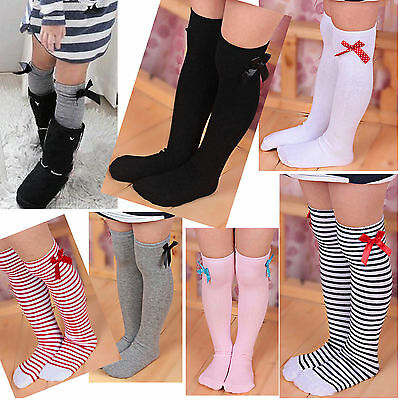 1-8Y Kids Toddler Girls Princess Black Knee High Socks Stockings Bowknot CHIC