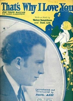 1926 That's Why I Love You Donaldson Ash Vintage Original Sheet Music A659