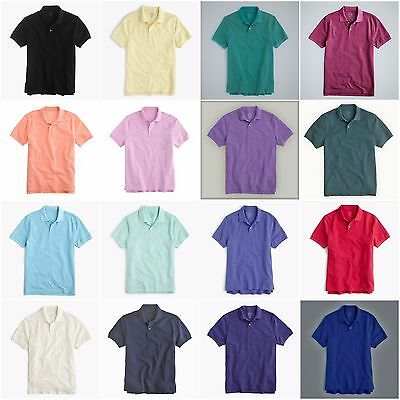 New J.Crew Mens Classic Pique Knit 2-Button Polo Shirt All Colors & Sizes XS-XXL