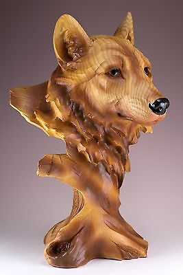 Wolf Head Bust Carved Wood Look Figurine Resin 11.5 Inch High New In Box