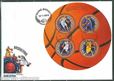 Guinea Bissau  2013   Basketball  Sheet First Day Cover