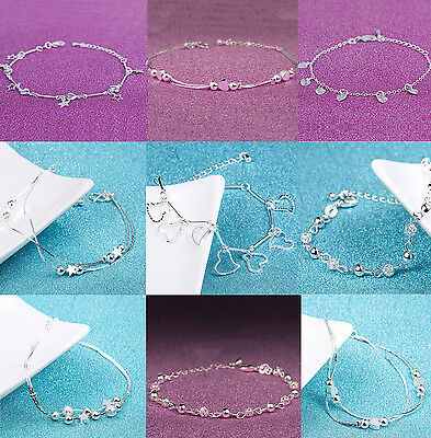 CHIC Women 925 Sterling Silver Crystal Chain Bangle Cuff Charm Bracelet Jewelry