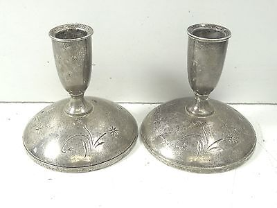 """Pair Weighted Sterling Silver GORHAM """"Celeste"""" Candlestick Holders 650g #3"""