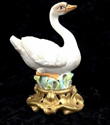 "Mottahedeh Goose Swan Figurine Gilded Pedestal Italy 8"" Tall Marked VTG"
