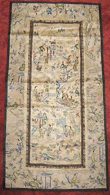 Antique Chinese Hand Made Exquisite Embroidery Ancient Silk Panel Wall Hanging