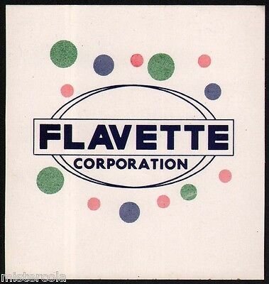 Vintage decal FLAVETTE CORPORATION unused new old stock in n-mint+ condition