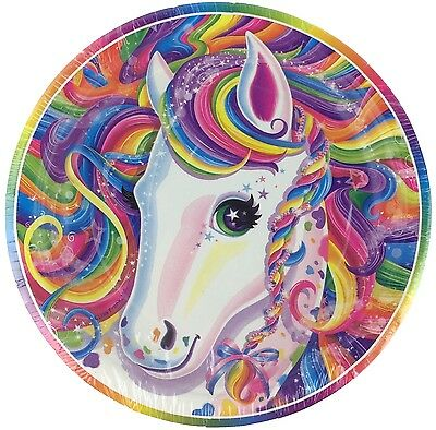 """Lisa Frank 7"""" Rainbow Horse Paper Party Plates 8 Count SEALED NEW"""