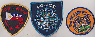 Lafayette City, New Orleans & City of Lake Charles LA Police patches