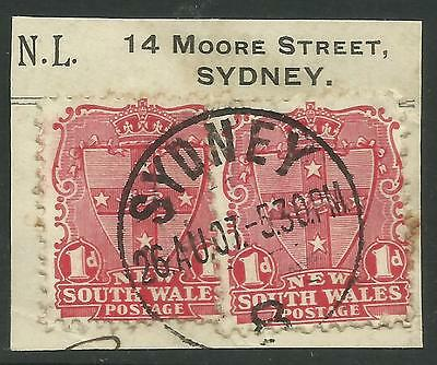 NEW SOUTH WALES 1d RED SHIELD Pair ON PIECE Sydney Postmark