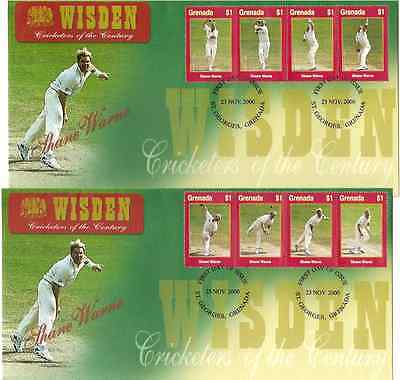 WISDEN CRICKET Shane Warne GRENADA 2000 Set of 8v on 2 First Day Covers
