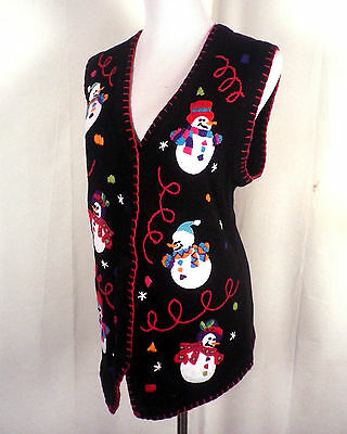 vtg 90s euc Ugly Christmas Sweater Vest snowmen x-mas party victoria jones S