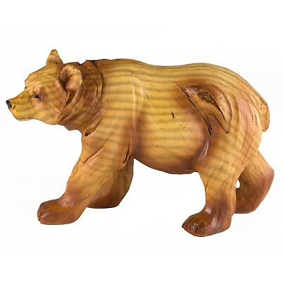 Bear Carved Wood Look Figurine Resin 4.25 Inch Long New!