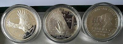 1994-p US Veterans Commemorative Silver Dollars 3 COIN PROOF SET  IN BOX W/ COA