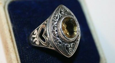 Womens Vintage Solid Silver Amber Coloured Stone Dress Ring 925 Size:Q Jewellery
