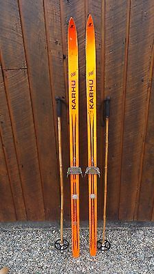 """A Very Interesting Vintage Wooden 66"""" Long Skis ORANGE Finish + Bamboo Poles"""