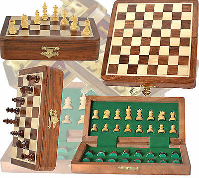 Wooden Chess Set - Perfect Travelling Chess Set Board 7x7 +32 magnetic Chess Pcs