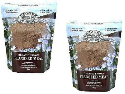 2 x 1kg Stoney Creek Organic Brown Flaxseed Meal ( total 2kg ) * FREE POST *