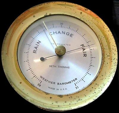 "Vintage Seth Thomas Brass ""Corsair"" Compensated Ship's Weather Barometer"