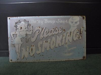 Betty Boop Says Please No Smoking Sign Vintage Weathered Faded Aged
