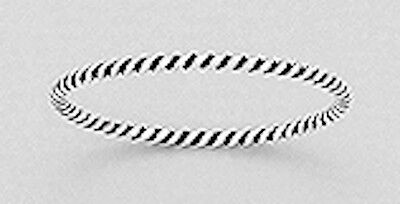 1mm Solid Sterling Silver SKINNY Twisted Rope Ring Band size 6 Oxidized Finish