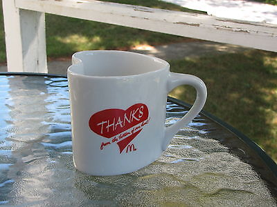 """McDonald's Heart Shaped Coffee Mug Cup """"Thanks from the bottom of our heart"""""""