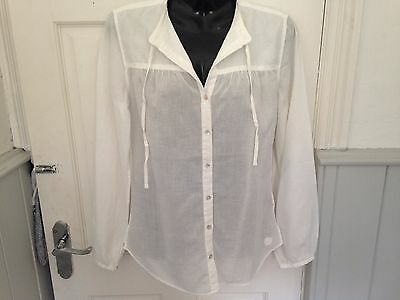 Bnwt * Timberland * Ladies White, Fine Cotton Long Sleeve Blouse * Size 6 *