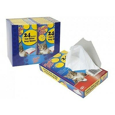 24 Pack Scented Cat Litter Tray Liners Disposable Bags White 66cm x 30cm -