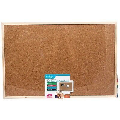 600 x 400mm Cork Notice Board - Wooden Framed Pin Message Memo Photo Picture
