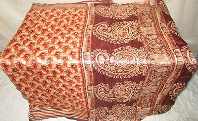Cream Coffee Pure Silk 4 yd Vintage Antique Sari Saree Worldwide ebay.com #EJ48S