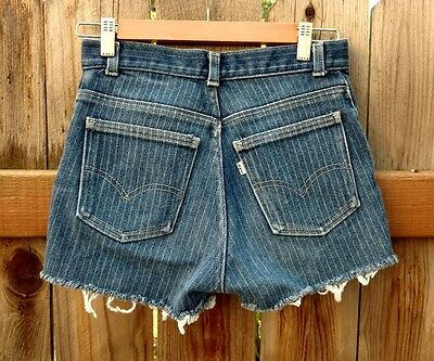 "Vintage Levis Denim Shorts Women's 70's 80's White Tab Stripes Cutoff 27"" 3 5"