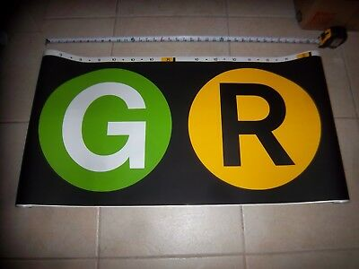 """35""""x19"""" Nyc Subway End Route Roll Sign Curtain G R Train Collectible Ny Loft Art"""