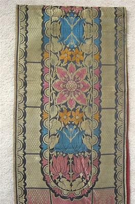Vintage Art Deco Nouveau Silk Brocade Tapestry Table Runner Floral  66 X 12
