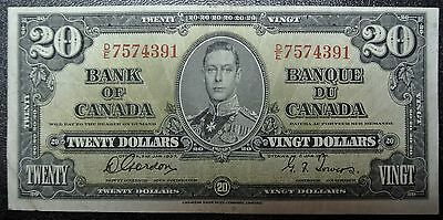 BANK OF CANADA 1937 - $20 OFF-CUT BANK NOTE - Prefix D/E -Signed Gordon & Towers