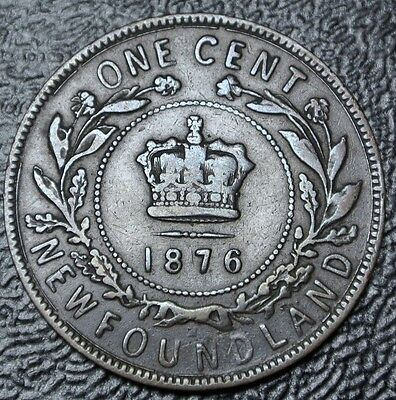 OLD CANADIAN COIN 1876 NEWFOUNDLAND ONE CENT - Victoria - Nice DETAILS